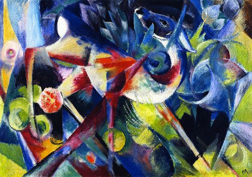 Deer in a Flower Garden | Franz Marc | oil painting