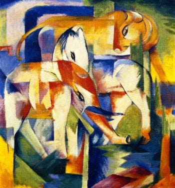 Elephant Horse Cattle | Franz Marc | oil painting