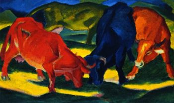 Fighting Cows | Franz Marc | oil painting