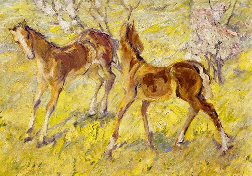 Foals at Pasture | Franz Marc | oil painting