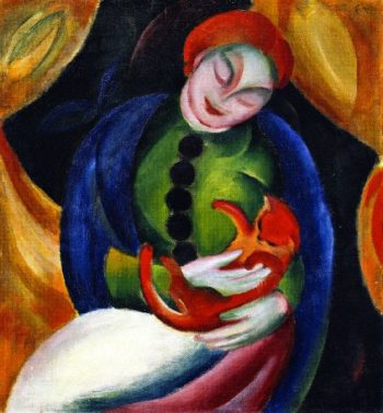 Girl with Cat II | Franz Marc | oil painting
