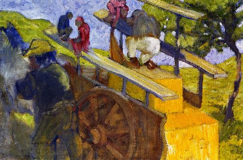 Monkeys on a Cart | Franz Marc | oil painting
