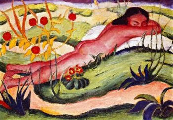 Nude Lying among Flowers | Franz Marc | oil painting