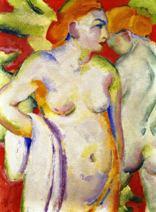 Nudes on Vermilion | Franz Marc | oil painting