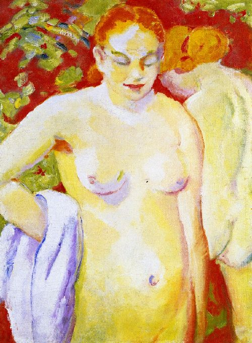 Nudes on Vermilion   Franz Marc   oil painting