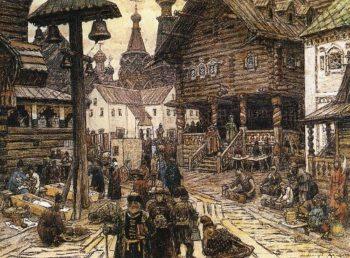 On the sacrum in China town 1902   Apollinaris M Vasnetsov   oil painting