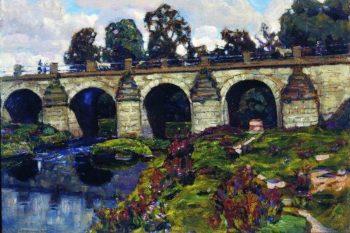 Palace of XVIII century bridge across the river Yauza Lefortovo 1920   Apollinaris M Vasnetsov   oil painting