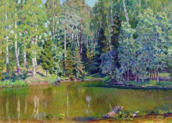 Pond Demyanovo Near Klina 1917   Apollinaris M Vasnetsov   oil painting