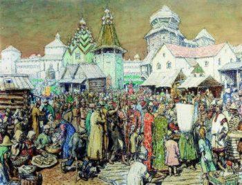Urban area of XVII century | Apollinaris M Vasnetsov | oil painting