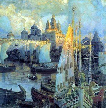 Varangian ships in Veliky Novgorod 1902 | Apollinaris M Vasnetsov | oil painting