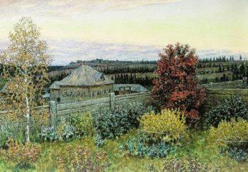 view from the dining room window Ryabovo 1919 | Apollinaris M Vasnetsov | oil painting
