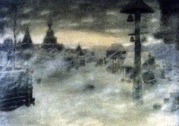 Vyuzhit Snowstorm Old Moscow 1904 | Apollinaris M Vasnetsov | oil painting