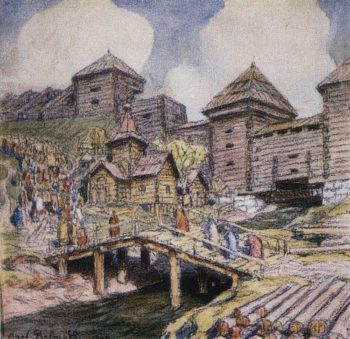 Walls wooden town Moscow XVII century 1920 | Apollinaris M Vasnetsov | oil painting