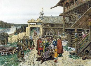 Yard of the local prince | Apollinaris M Vasnetsov | oil painting