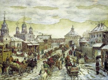 Y Miasnitsky gates of the White City in the XVII century 1926 | Apollinaris M Vasnetsov | oil painting