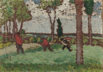 Figures in a Field | Jozsef Rippl Ronai | oil painting