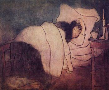 Lady in bed | Jozsef Rippl Ronai | oil painting