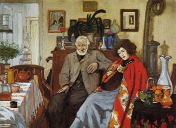 The old man and a woman playing the mandolin | Jozsef Rippl Ronai | oil painting