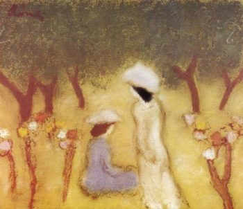 Under the Hollyhocks | Jozsef Rippl Ronai | oil painting