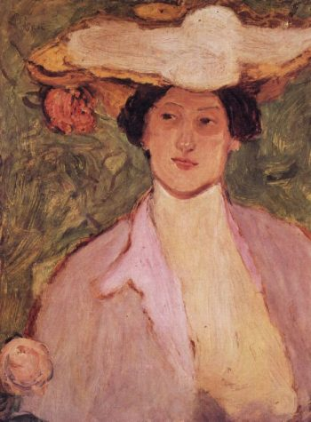 Woman in a Pink Hat | Jozsef Rippl Ronai | oil painting