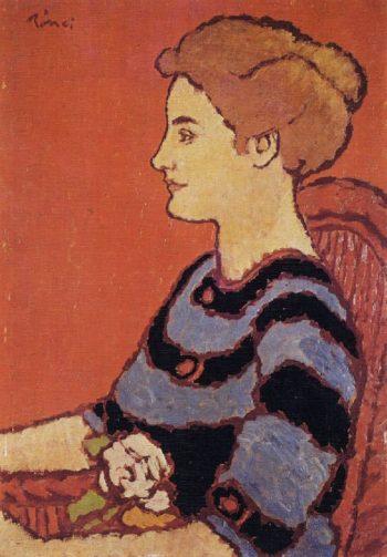 Woman in Blue Dress | Jozsef Rippl Ronai | oil painting