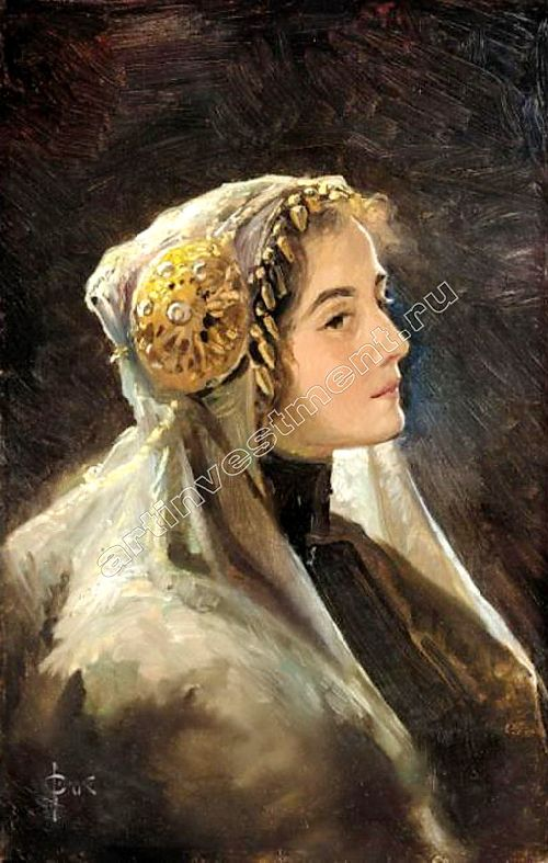 Russian beauty in a traditional headdress   Solomko Sergey Sergeyevich   oil painting