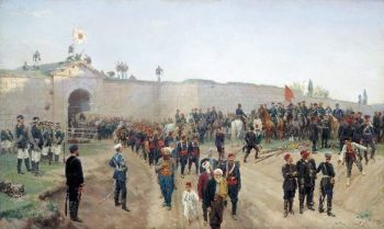 Fortress of Nikopol surrender July 4 1877 1883 Canvas | Nikolay Dmitriev Orenburgsky | oil painting