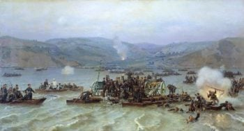 Russian army crossing over the Danube at Zimnitsa June 15 1877 1883 | Nikolay Dmitriev Orenburgsky | oil painting