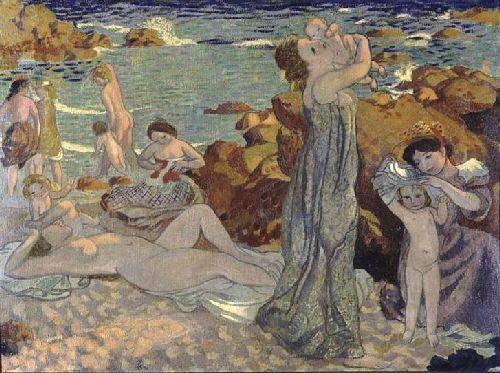 Baigneuses plage du Pouldu | Maurice Denis | oil painting