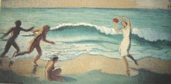 Jeunesse ou vague au ballon rouge | Maurice Denis | oil painting