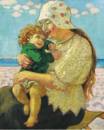 La Grande Sceur Anne Marie et Francois sur La Plage | Maurice Denis | oil painting