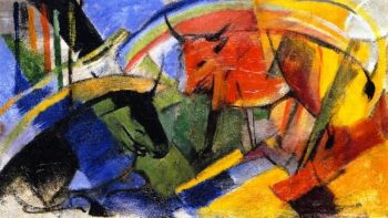 Small Picture with Cattle | Franz Marc | oil painting