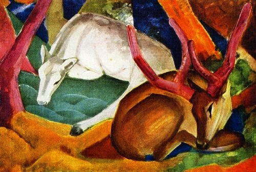 Stags in the Woods   Franz Marc   oil painting