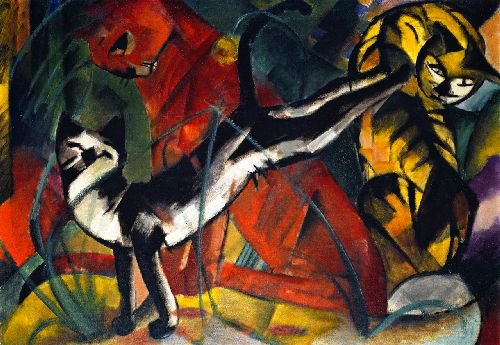Three Cats | Franz Marc | oil painting