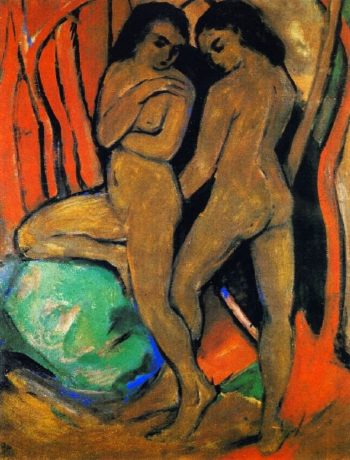 Two Standing Nudes with Green Rock | Franz Marc | oil painting
