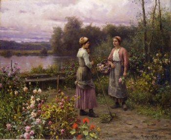 The Gossips   Daniel Ridgway Knight   oil painting