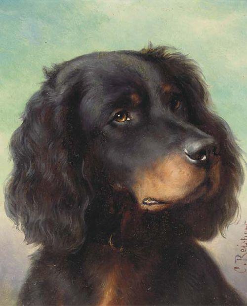 A Gordon setter   Carl Reichert   oil painting