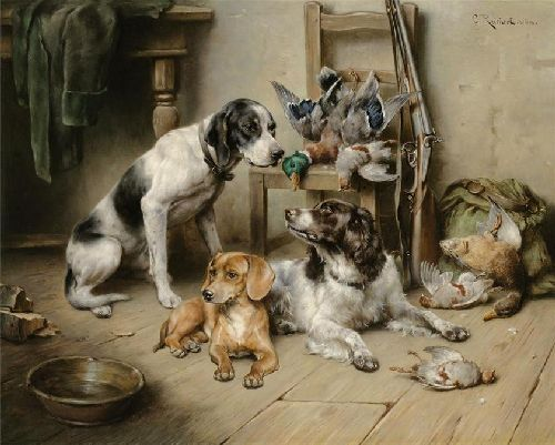 An English Pointer a Dachshund and an English Springer Spaniel after the hunt | Carl Reichert | oil painting