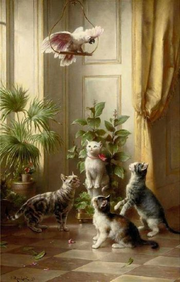 Cats and the cockatoo | Carl Reichert | oil painting