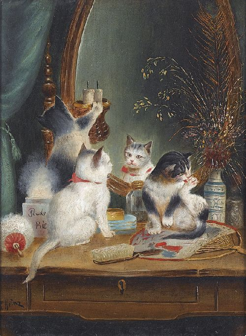 Cats in the Boudoir | Carl Reichert | oil painting