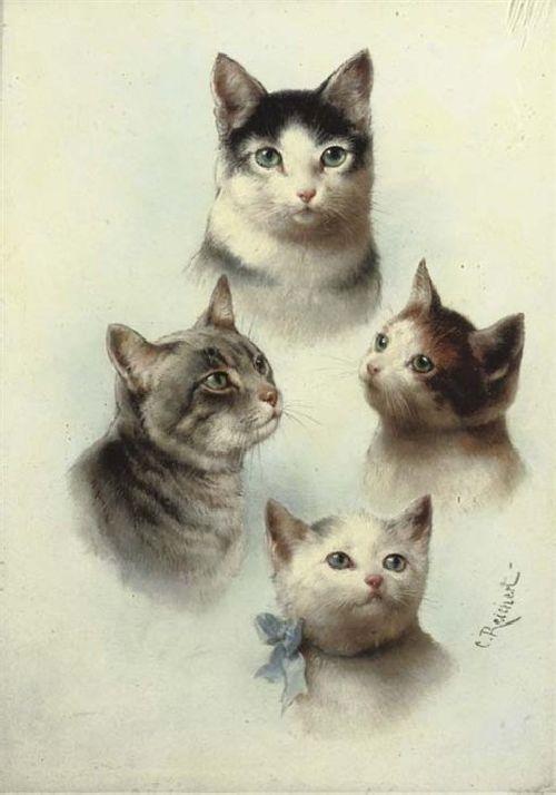 Cute Cats   Carl Reichert   oil painting