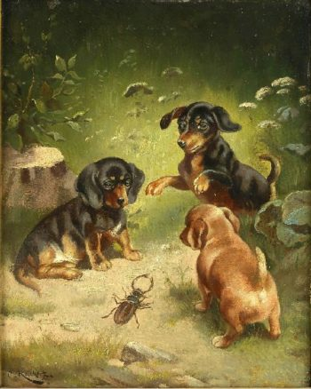 Dachshund puppies at play | Carl Reichert | oil painting