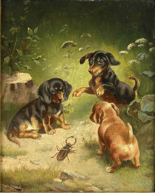 Dachshund puppies at play | Carl Reichert | oil painting