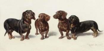Four Dachshunds | Carl Reichert | oil painting