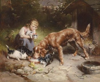 Girl with dog and cats | Carl Reichert | oil painting