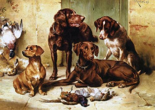 Hunting dogs with prey   Carl Reichert   oil painting