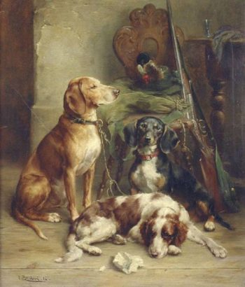 Hunting Hounds | Carl Reichert | oil painting