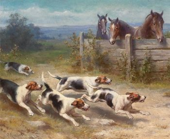 Jack Russell chasing pack | Carl Reichert | oil painting