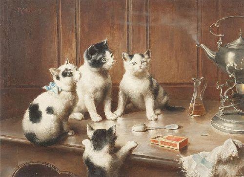 Kittens at Teatime   Carl Reichert   oil painting