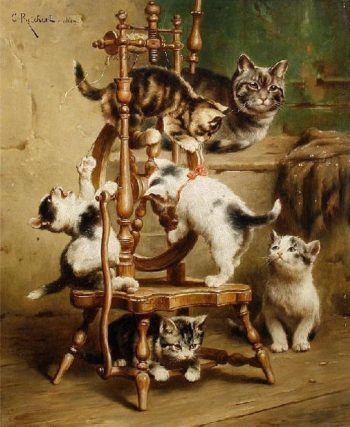 Kittens playing on a spinning wheel | Carl Reichert | oil painting
